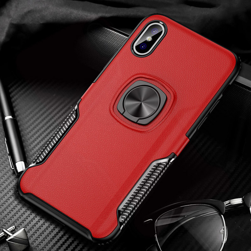 Luxury Hybrid Tough Shockproof Bracket Case For iphone x xr xs max ring holder Silicone PC cover For iphone 6 6s 7 8 plus cases in Fitted Cases from Cellphones Telecommunications