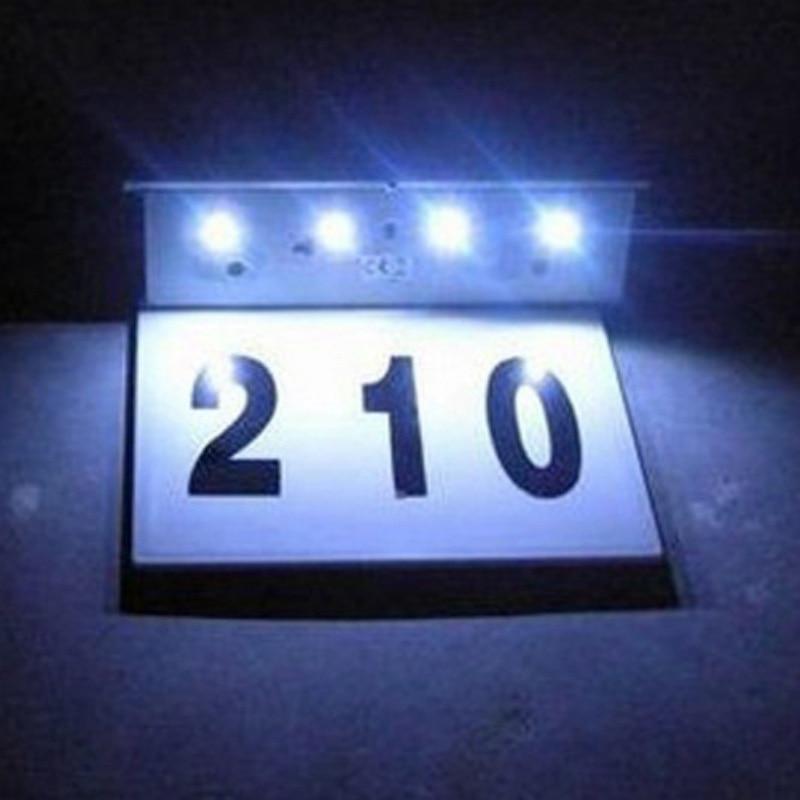 Lampe de porte solaire 4 LED numéro de maison panneau d'adresse Plaque de porte extérieure maison indiquant des lumières Plaque décorative porte solaire applique murale|Lampes à énergie solaire| |  -