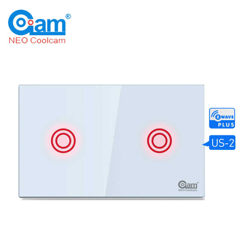 Coolcam  Z-wave Light Switch 2 Gang In-Wall Touch Panel Smart Home Device 2CH Home Automation Z Wave Plus Wireless US 908.4MHZ