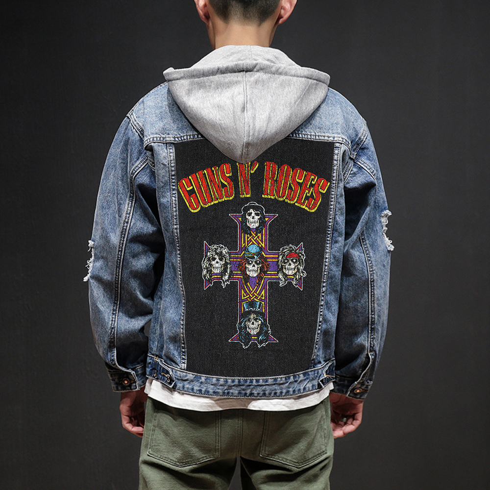 Bloodhoof Store Guns N' Roses Rock And Roll Death Heavy Hardcore Punk Style Patch Designs Denim Jeans Mens Jackets And Coats