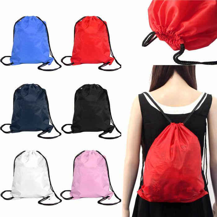 Portable Practical Shoulder Strap Nylon Drawstring Sack Sport Beach Travel Outdoor Backpack Bags Drop shipping