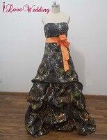 iLoveWedding A-Line Camo Wedding Dresses Sleeveless Sweetheart Zipper Camouflage Bow Tiered Bridal Gowns Custom CA12