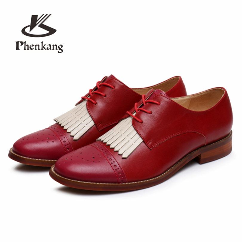 Phenkang Genuine Leather summer brogues shoes Yinzo Women lace up Sheepskin red Flats Lady Shoes Handmade woman sneakers