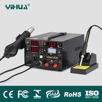 YIHUA 853D 110/220 В EU/us Plug фена паяльная станция паяльник + Термовоздуходувы + питание сварки Ремонт паяльной станции