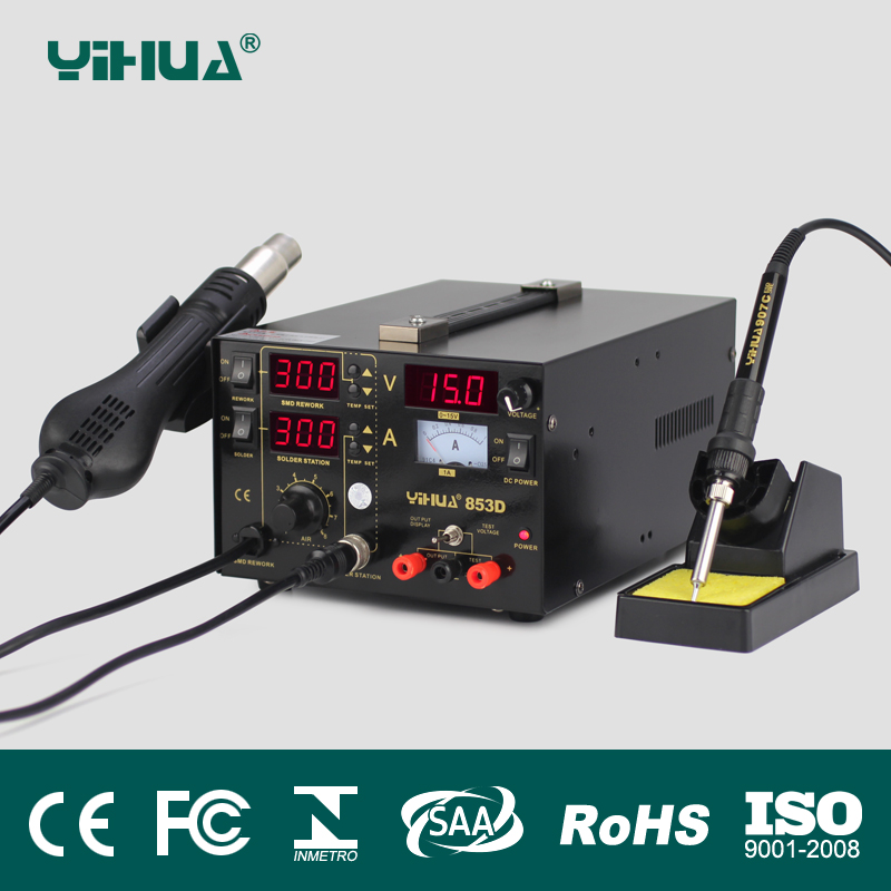 YIHUA 853D 110/220V EU/US PLUG Hot Air Gun Rework Station Soldering iron + Heat Gun + Power Supply Welding Repair Solder Station 853d 110v 220v usb hot air gun rework station soldering iron heat gun power supply welding repair solder station led light
