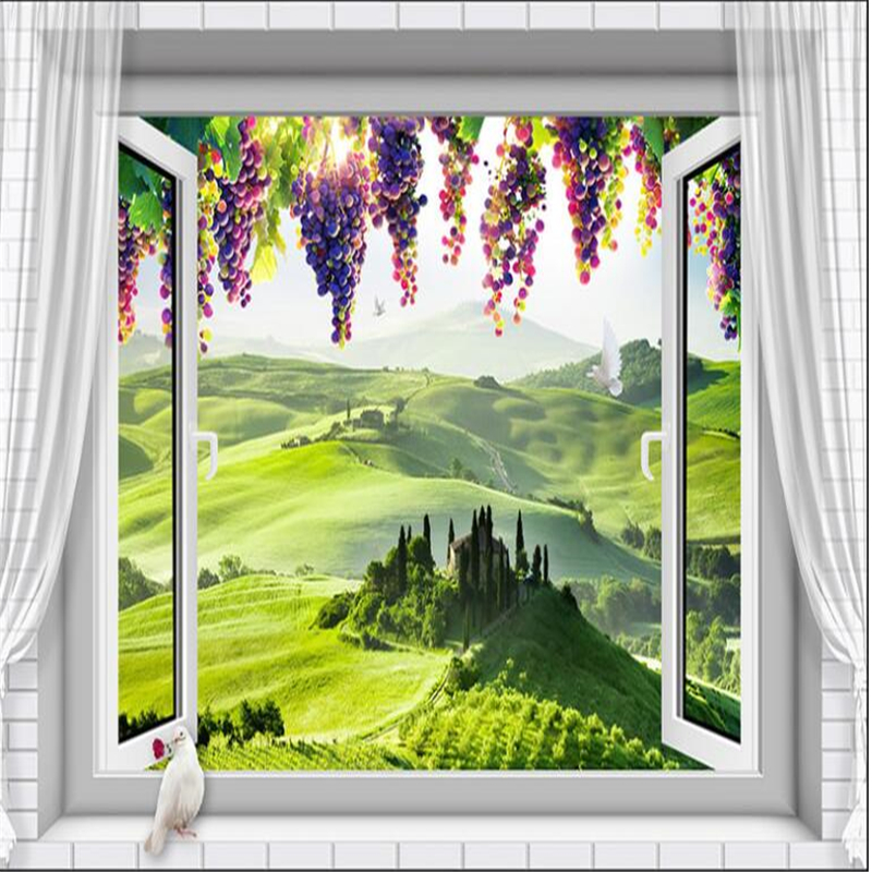 beibehang 3d wallpaper Custom beautiful European 3D window grape 3D wallpaper mural photo home decoration living room wall in Wallpapers from Home Improvement