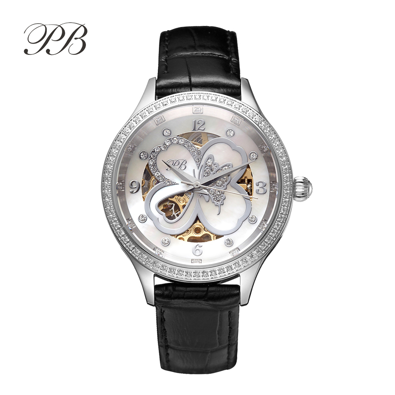 Hot Sale Famous BP Brand Princess Butterfly Lady Lucky Clover Watch Austrian Crystal Automatic Self-Wind Wrist Watch hot sale famous bp brand princess butterfly lady lucky clover watch austrian crystal automatic self wind wrist watch