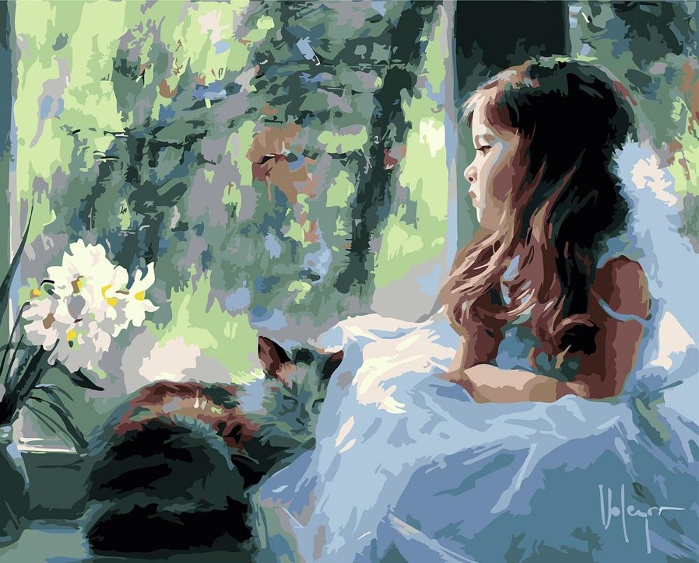 Balta plīvura skaista meitene Mājas dekors bez rāmja Gleznošana Lolitas attēls pēc numuriem Roku darbs Draw On Canvas Living Room Wall Art