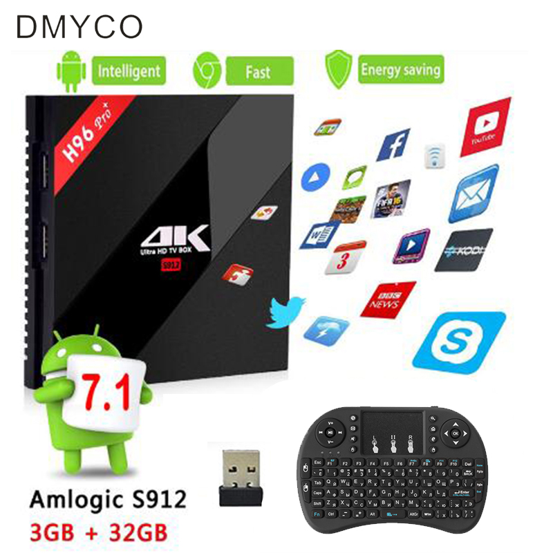 DMYCO h96 pro plus 3g 32g Smart TV Box Android 7.1 Amlogic S912 OCTA Core Wifi 4K andriod tv box