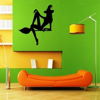 Wall Stickers Vinyl Decal Hot Sexy Female Beauty Halloween Witch Broom