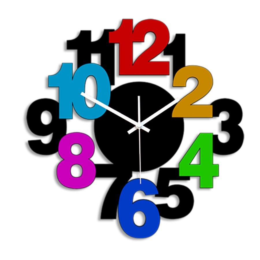 Creative Wall Clock Personality Simple Living Room Fashion Art Clock Mute Bedroom Quartz Clock Digital Clock Home Decor 50Q301