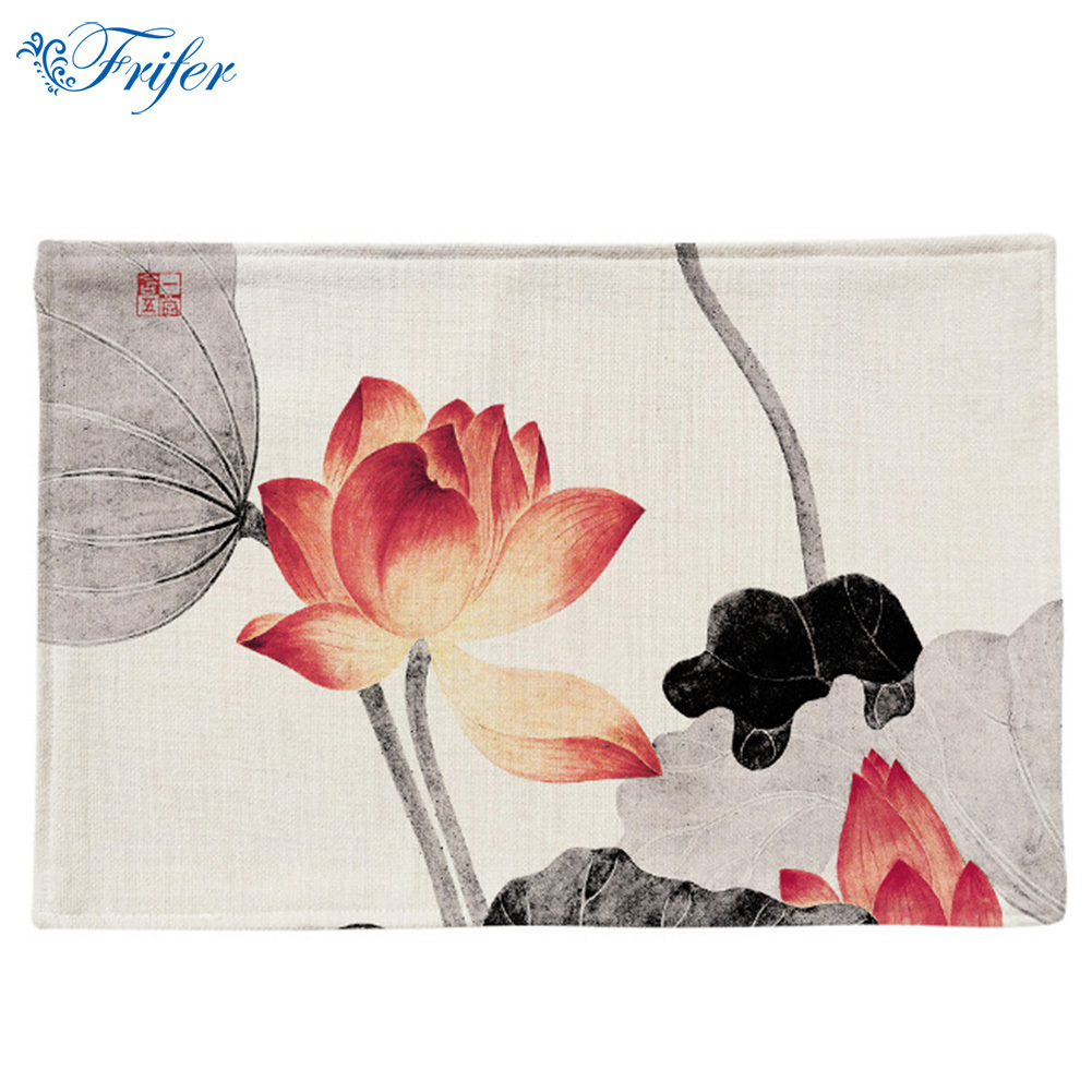 Ink Painting Lotus Placemat Printed Table Mat Heat-insulation Cotton Linen Cloth Dining Table Pads 44x28cm Kitchen Accessories