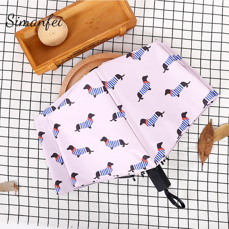 Simanfei Pocket Umbrella New Arrival Three Folding Fresh Partysu streak Dogs Parasol Sunny Rainy Umbrellas Girls Gifts Pink
