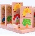 Бесплатная Доставка!Детские игрушки 28 шт животных/автомобиль/фрукты Домино блоки строительные блоки образовательные игрушки деревянные кубики игрушки подарок
