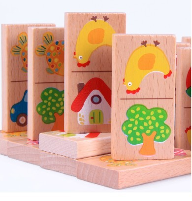 Baby Toys High Quality Animal Vehicle Fruit Domino Blocks Toys Building Blocks Educational Wooden Blocks Toys gift