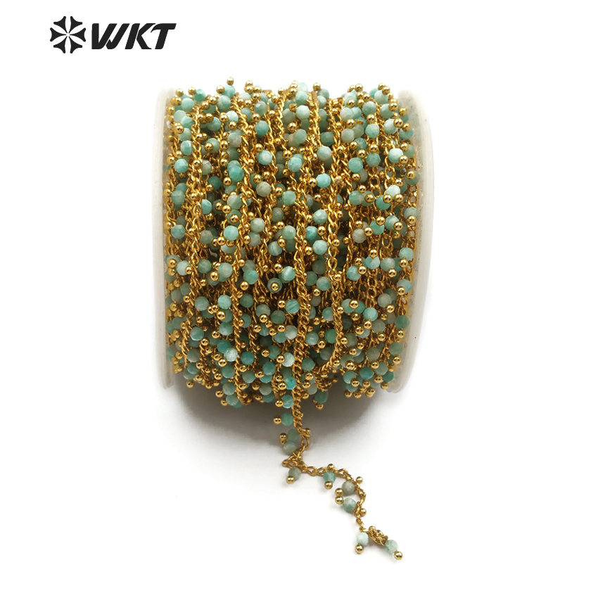 WT RBC086 WKT New hot sale natural amazonite stone with brass rosary chain green fresh accessories