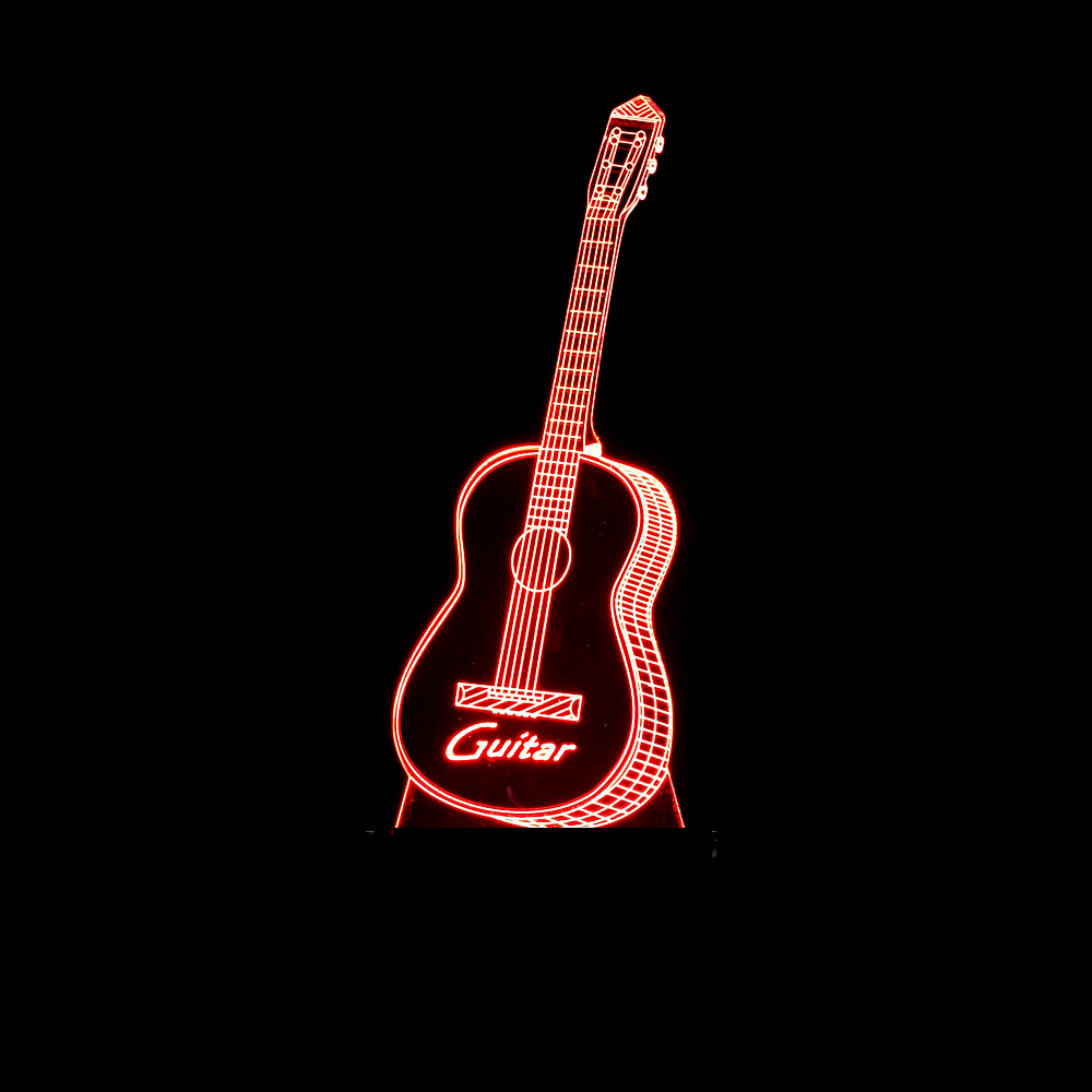 3D LED Visual Colorful Creative Instrument Guitar Shape Night Light Luminaria Table Lamp Usb Sleep Lighting Bedroom Decor Gifts