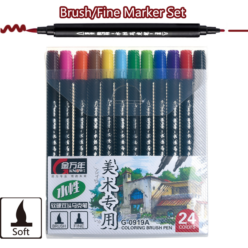 12 24 36 Colors Brush Pen Water Based Dual Tip Finecolor Bright Colors Drawing Marker Watercolor Brush Pen Calligraphy Rotulador