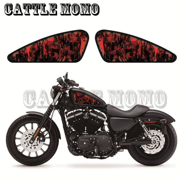 Motorcycle fuel tank decals stickers custom skull flamefor sportster xl883 883n r l xl1200