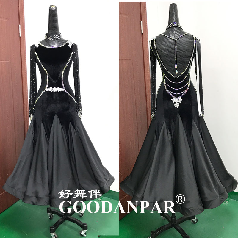 Robes de danse de salon vêtements de danse de salon standard compétition robe de danse standard valse robe de velours à manches longues Sexy