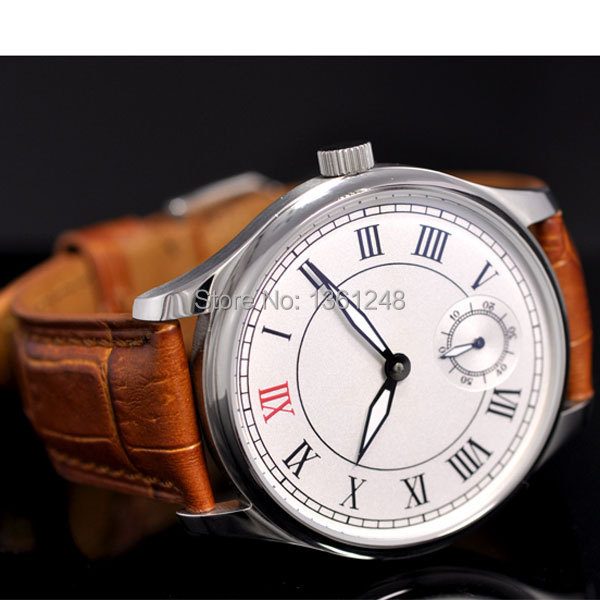 44mm parnis white dial ST 6498 Mechanical manual wind mens watch P30 цена и фото