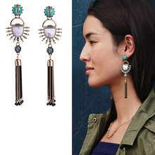 2016 New Tassel Earrings kpop Blue Hanging Earrings Summer Trendy Ethnic Jewelry Earrings Long