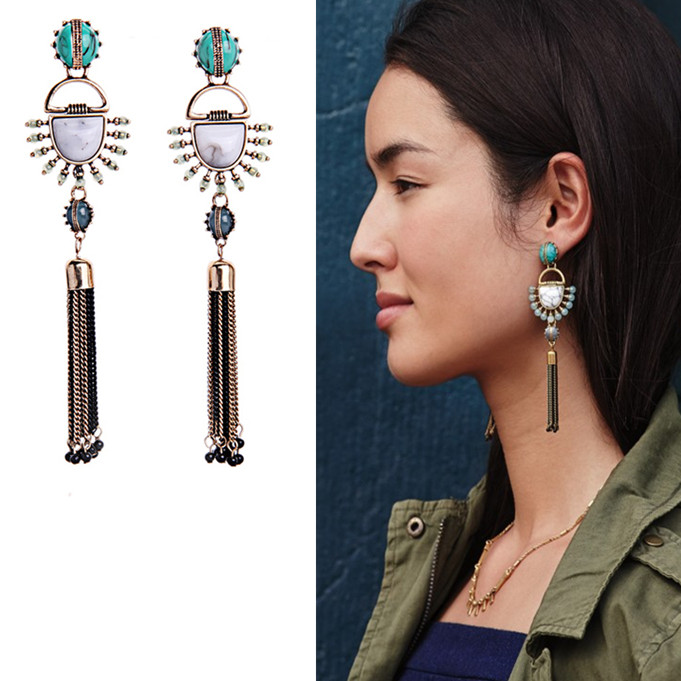 2016 New Tassel font b Earrings b font kpop Turquoise Hanging font b Earrings b font