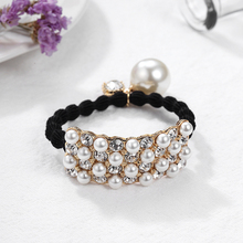 10pcs candy elastic pearl ponytail holder hair ties for girls tight elastic rubber rope bands for thick adult hair accessories CHIMERA Women's Pearl Hair Band Elegant Elastic Rubber Bands Thick Crystal Ponytail Holder Hair Ties Rope Girls Hair Accessories