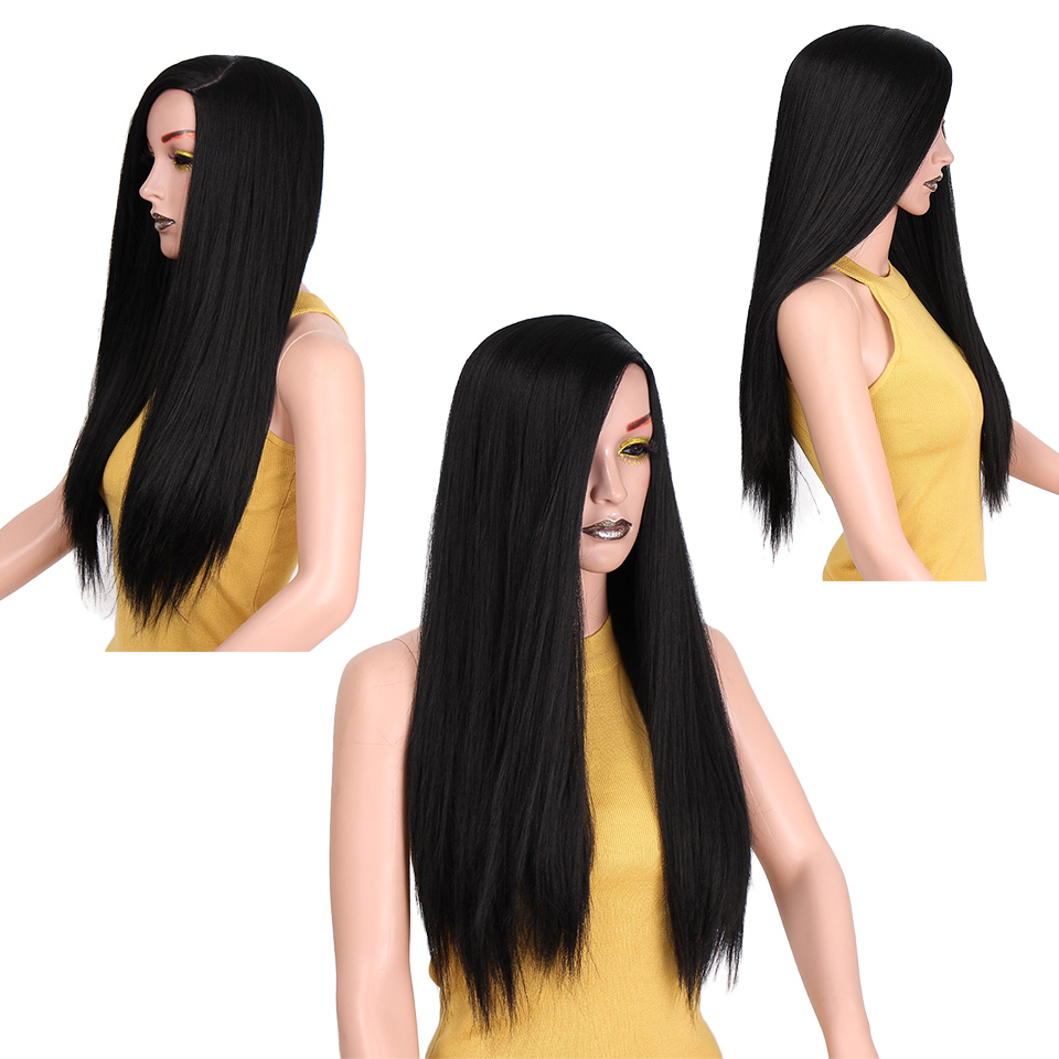 I's a wig Long Black Kinky Straight Wigs 22 inch Natural Blacks Hair Synthetic Wigs for Women High Temperature Fiber
