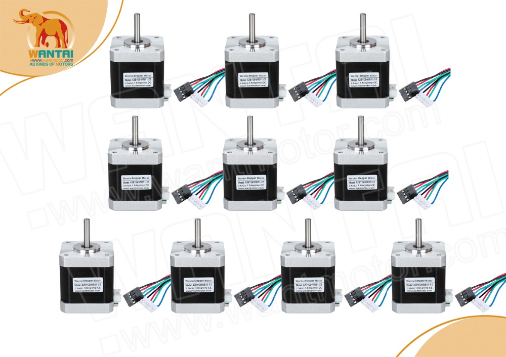 10pcs Nema17 42BYGHW811L20P1-X2 0.48N.m(70oz-in) 48mm 2.5A 3.1V 48mm D-Shaft With Connector for 3D printer robotic