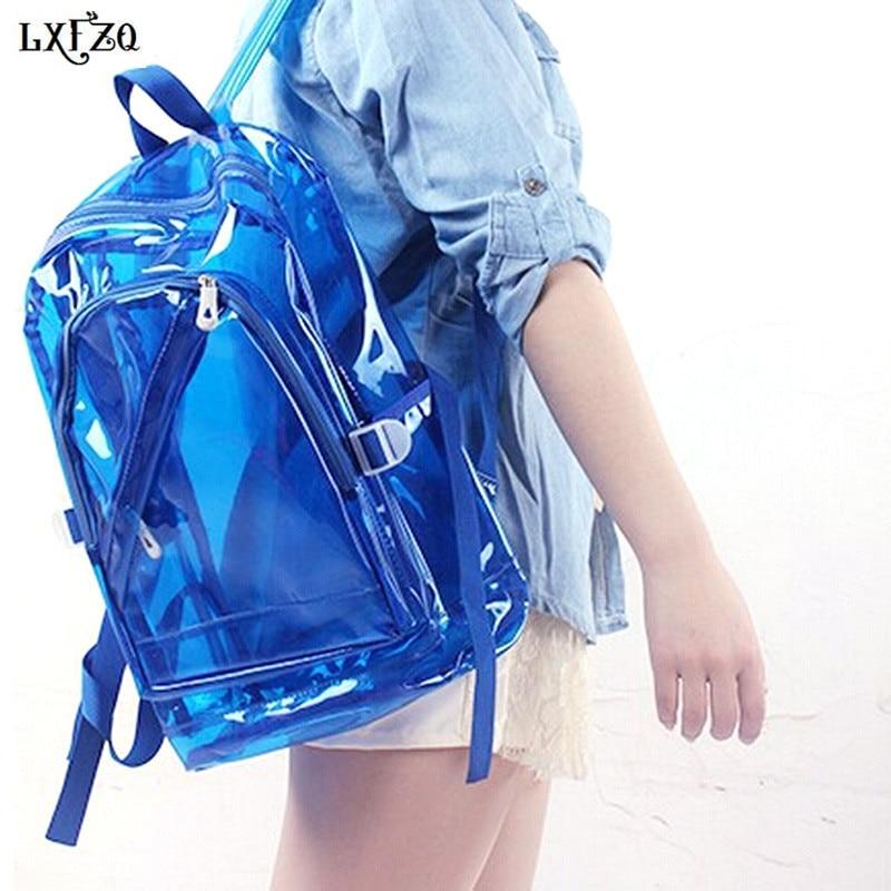 LXFZQ NEUE Wasserdichte Rucksack Transparent Durchsichtigen Kunststoff für Teenager PVC Schulranzen Schultern Tasche raum