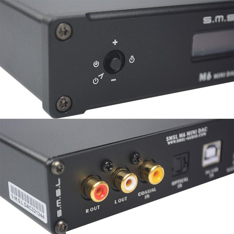 2017 SMSL M6 HiFi аудио декодер Усилители домашние 32bit/384 кГц USB асинхронный ЦАП аудио Многофункциональный ak4390ef CM6631A