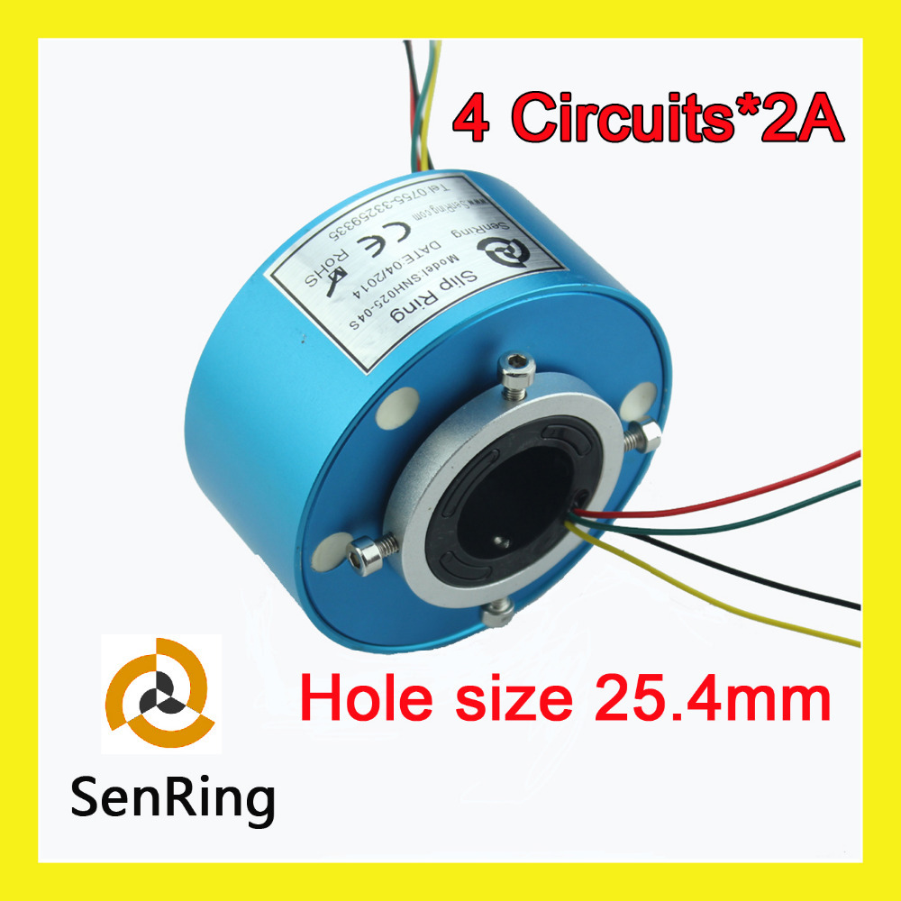Through hole slip ring Senring manufacturer electrical connector 4 circuits signal of bore size 25.4mm mercury slip ring 1 pole 50a