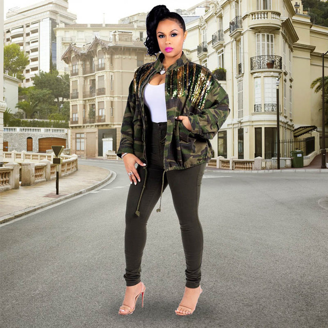 Women's Green Camouflage Long Sleeve Coat with Sparkle Glam Striped Sequins Sequined Patchwork Zipper Loose Jacket Autumn Winter