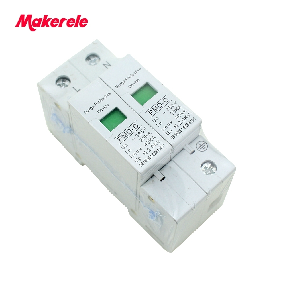 Din Rail House surge protector Anti-Lightening voltage surge protector device for HOME/BUILDING SPD 1P+N 20KA~40KA ~385VAC gift n home