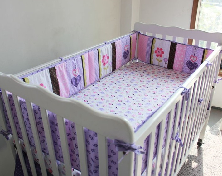 Promotion! 5PCS Cot Sheet Cotton Curtain Crib Bumper Baby Cotton Sets Baby Bedding Bed Arround Bumper ,(4bumper+bed cover) promotion 6pcs baby bedding set cot crib bedding set baby bed baby cot sets include 4bumpers sheet pillow
