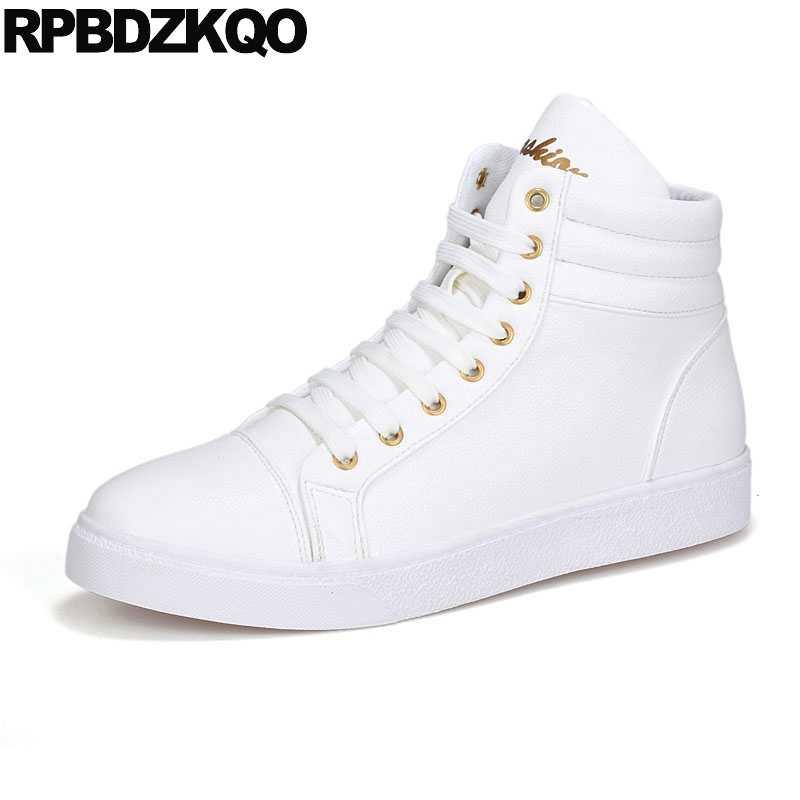 1c31abe2c8cbb Estilo zapatillas Lace Up rojo blanco alto Top hombres botas de invierno  con piel impermeable zapatos
