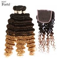 Remy Forte Brazilian Deep Wave Bundles With Closure T1B/4/27 Human Hair Bundles With Closure Ombre 3 / 4 Bundles With Closure
