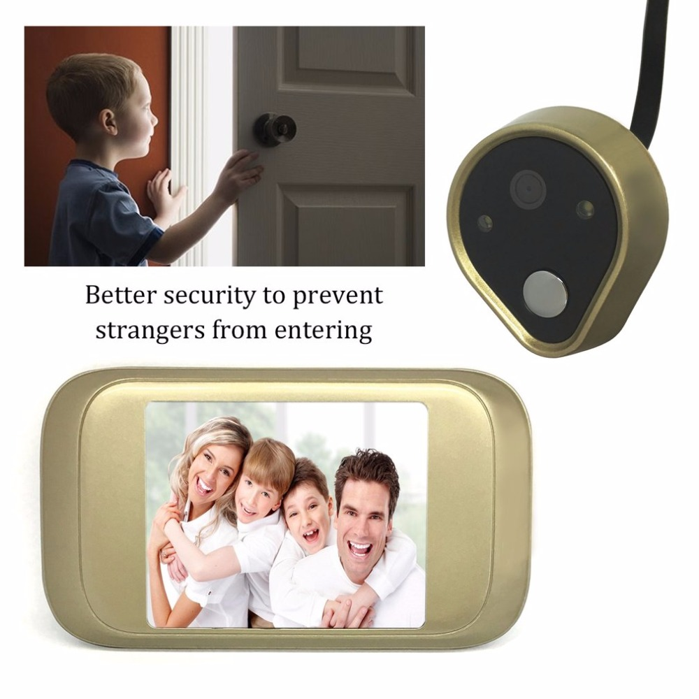 HD Peephole Viewer Home Safeguard Door Viewer Camera 3.2 Inches LED 1MP HD Smart Viewer Digital Visual Doorbell 2 8inch led digital door viewer camera peephole home security 3x zoom doorbell