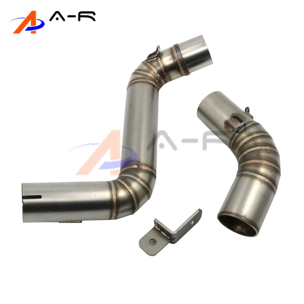 Motorcycle Exhaust middle pipe Round Muffler for KTM DUKE125 DUKE 200 DUKE 250 DUKE 390 2012-2014 2013 Stainless Steel motorcycle stainless slip on exhaust mid pipe for ktm 390 duke 2013 2014 2015 2016