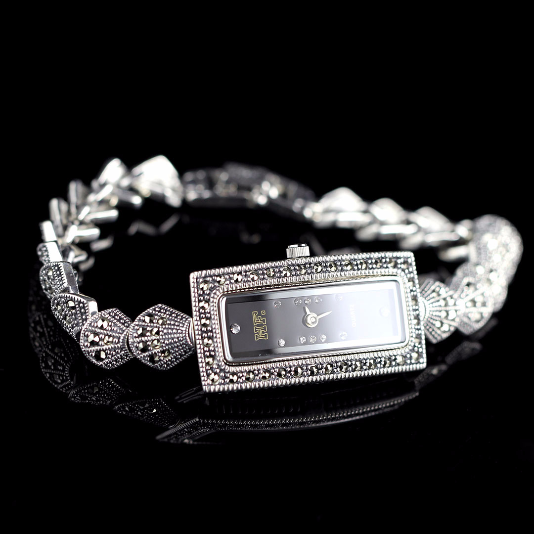 S925 Silver Inlay Marcasite Chain Vintage Rectangular Dial Wrist WatchS925 Silver Inlay Marcasite Chain Vintage Rectangular Dial Wrist Watch