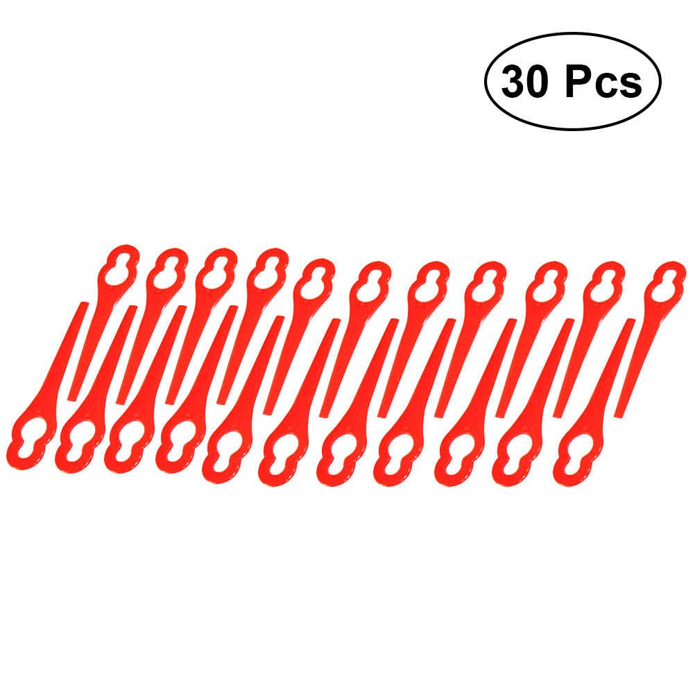 30pcs Plastic Grass Trimmer Blades Mower Replacement Trim Fast Switchblades (Red)