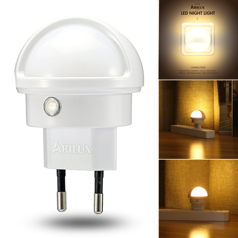 ARILUX 360 Degree Rotation LED Light Sensor Wall Plug-in Night Lamp Bedroom 110V/220V US/EU Plug Warm White Led Night Light поло print bar жуков page 4 page 4 page 1 page 5
