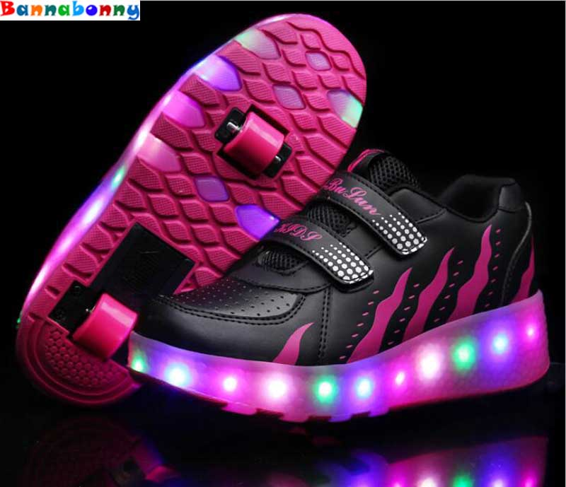 цена на Children Shoes With Light With Double wheels Skate Boys And Girls Casual LED Shoes For Kids 2018 LED Light Up Kids Shoes 28-37