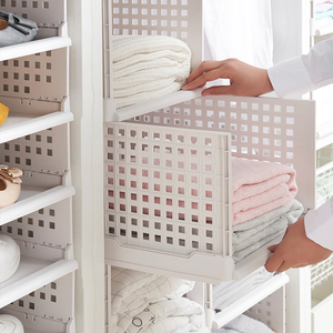 Multi-Layer Clothes Storage Box Drawer Home Plastic Storage Basket Separated Wardrobe Storage Box Rack Folding Drawer Bin for Cl