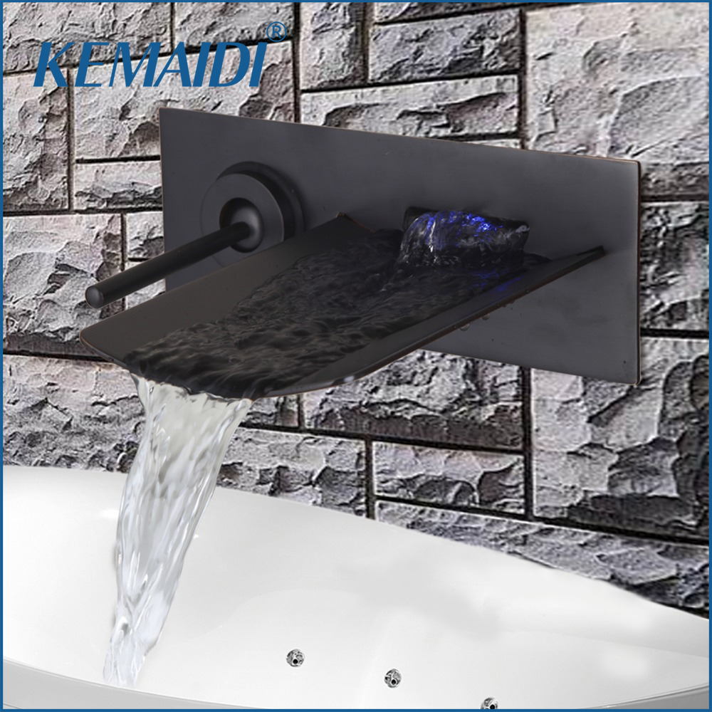 KEMAIDI High Quality Brass Waterfall Basin Tap Bathroom Faucet Mixer torneira banheiro Hot and Cold Water Tap Mixers Wall Mount цена