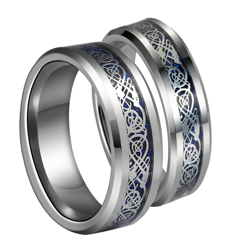 8mm Silvering Celtic Dragon Tungsten Carbide Ring Wedding Band Mens Jewelry