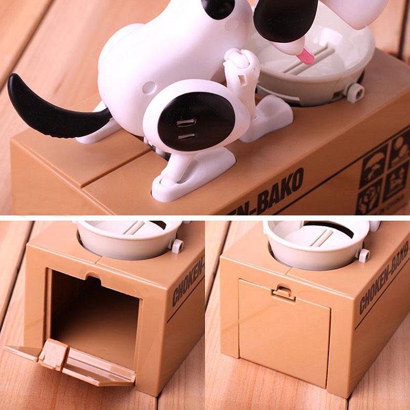 Купить с кэшбэком 1pcs Cartoon Robotic Dog Banco Safe Money Box Money Automatic Stole Coin Plastic Piggy Bank Money Saving Bank Gift Money Box