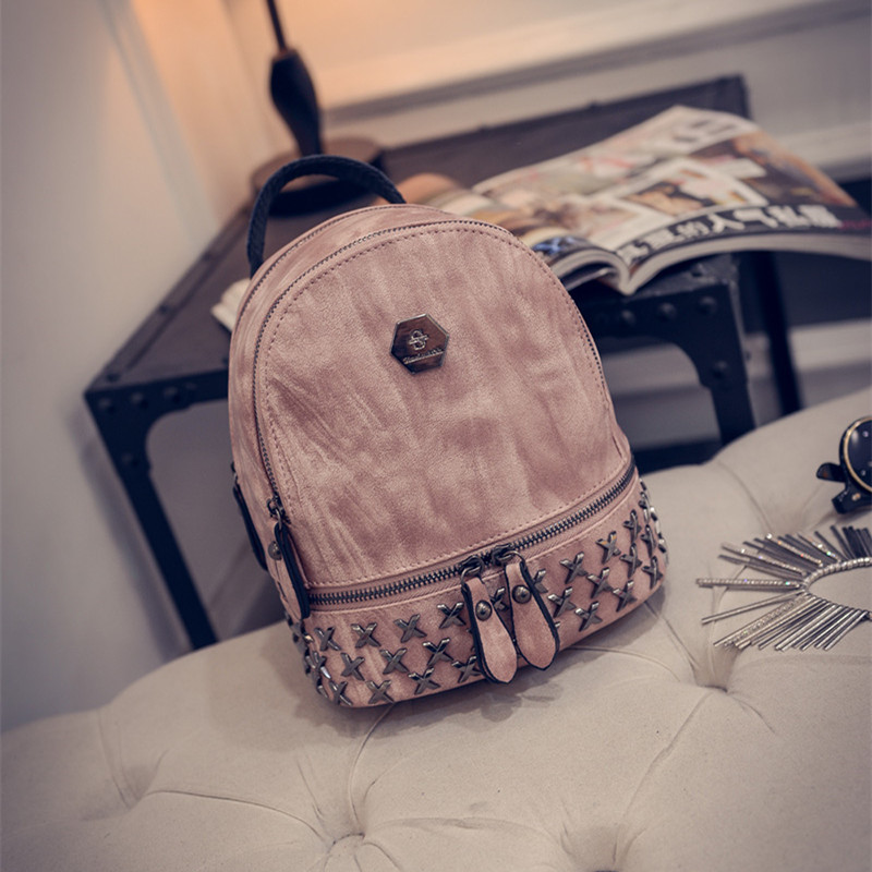 2017 new female Korean Mini Pu rivet backpack all match small backpack simple street fashion trend