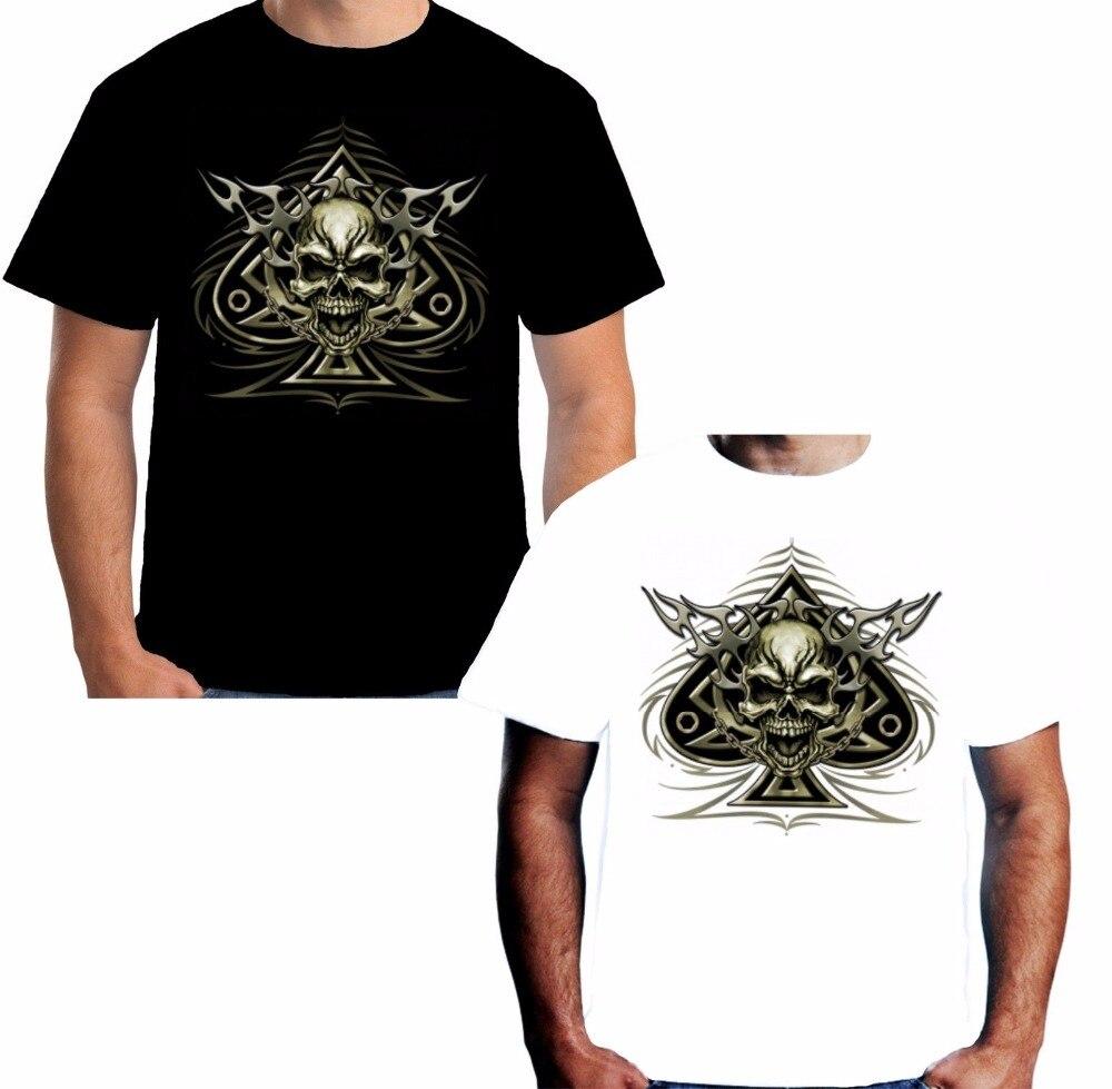 Fashion 2018 brand design T-shirt casual cool mens shovel skull bone Hot Sale 100% cotton cycler motorcycle leisure Tee shirt